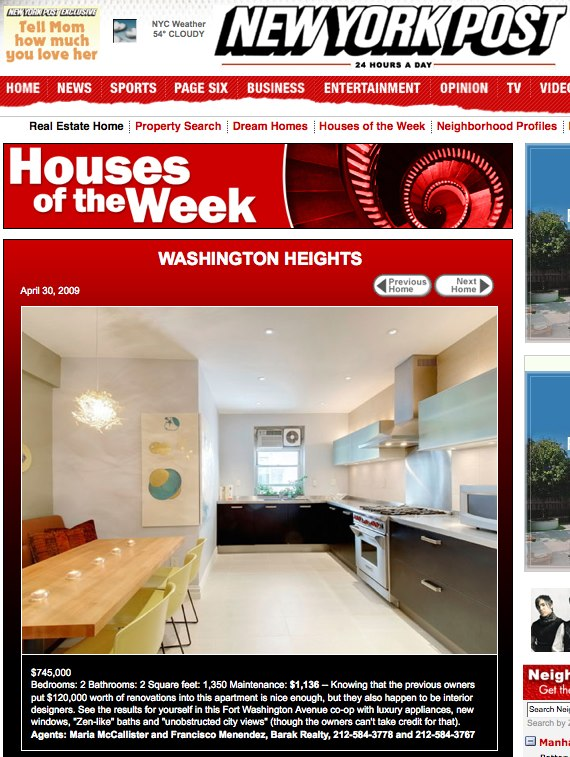720 Fort Washington Ave. 3V - NY Post's House Of The Week