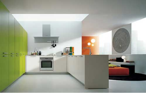 modern kitchen with great use of color