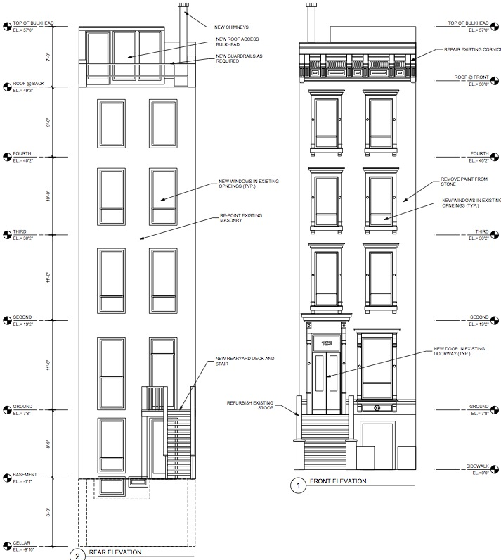 harlem townhouse facades (front and back)