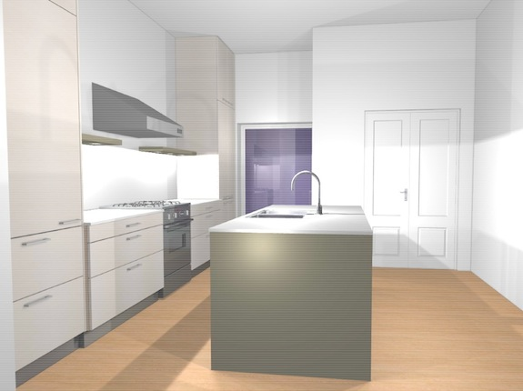 3D Rendering of Harlem brownstone kitchen