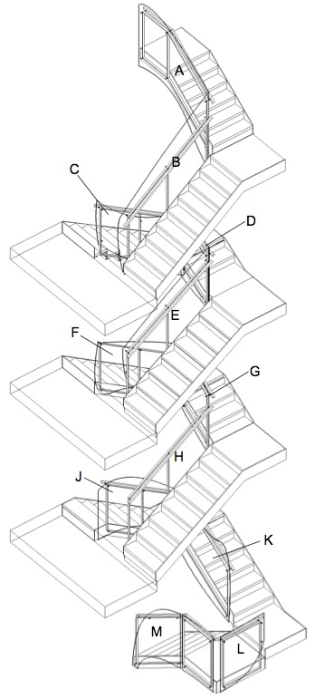 Stair layout in a Harlem townhouse