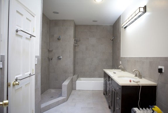 Master bathroom with shallow tub