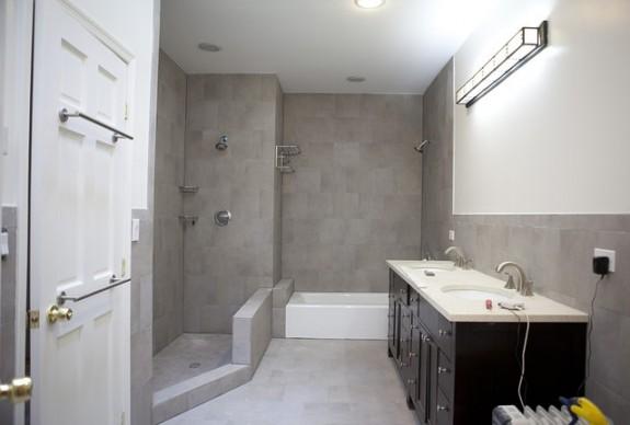 Master bathroom with shallow tub