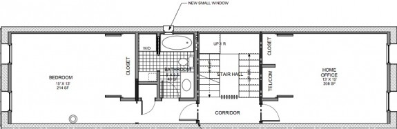 2nd floor plan with home office and laundry