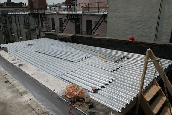 Metal decking for a Harlem townhouse roof