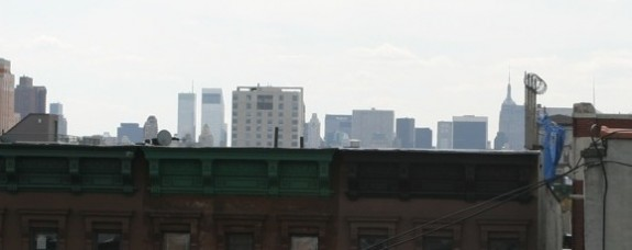 Midtown view from Harlem townhouse roof deck