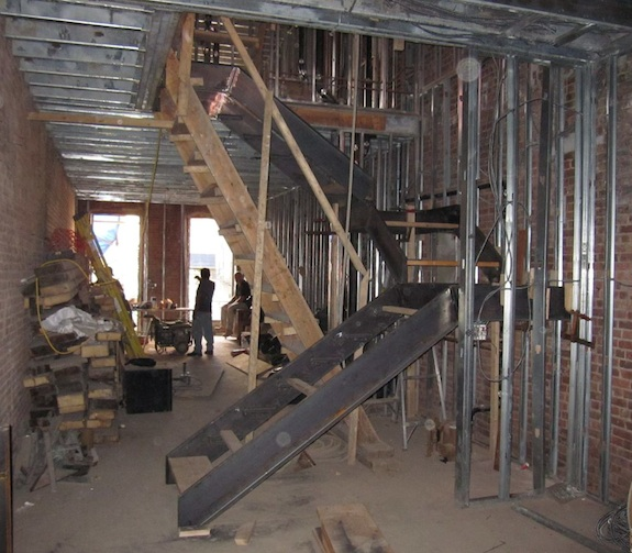 Constructing parlor stairs out of steel in Harlem brownstone