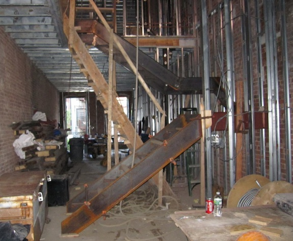 Steel stairs going into a Harlem townhouse