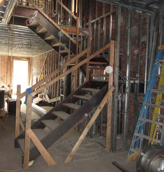 Steel & wood parlor stairs - looking from front to back
