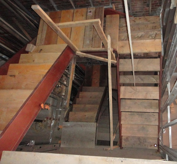 steel & wood stairs from above