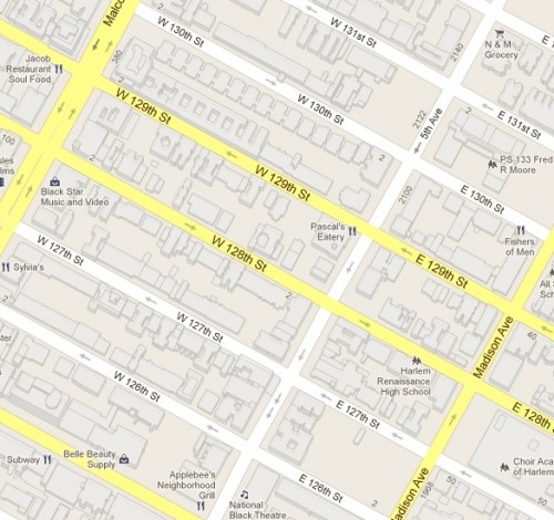 Map showing the High Five neighborhood in Harlem