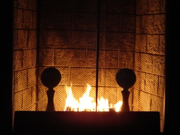 Fire burning in our fireplace