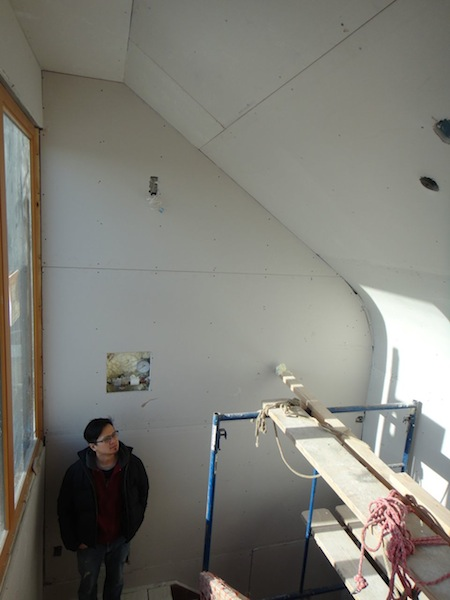 bulkhead with curved drywall