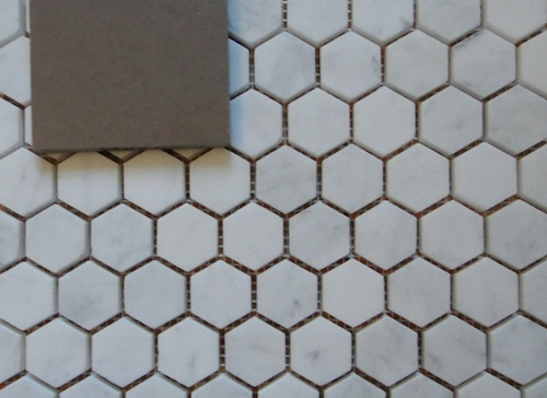 hexagonal Carrara mable for guest bath
