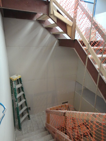 stairwell drywall