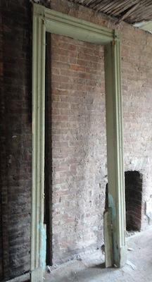 old green door frame