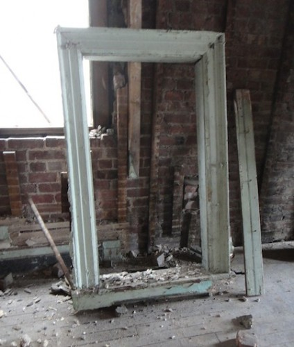 old green window frame