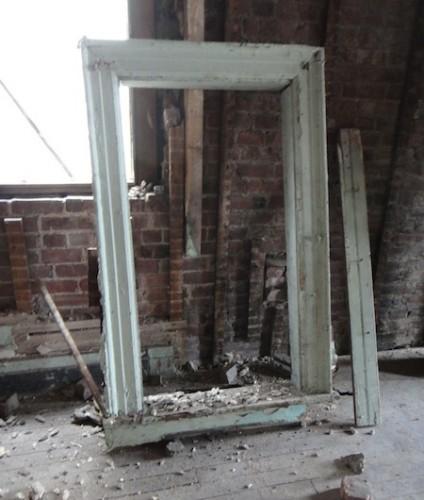 old green window frame