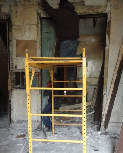 pocket doors being removed