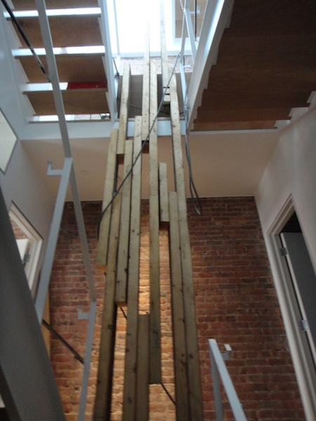 stairwell screen out of reclaimed lumber