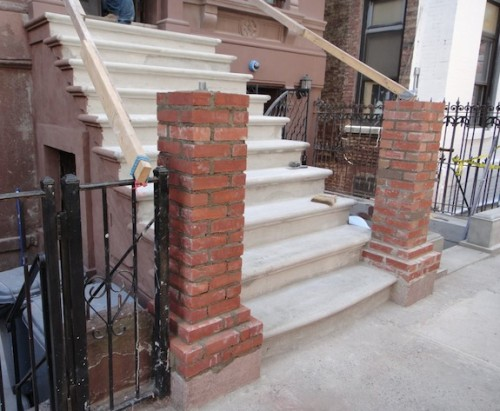 Brick core for masonry newel posts on brownstone stoop
