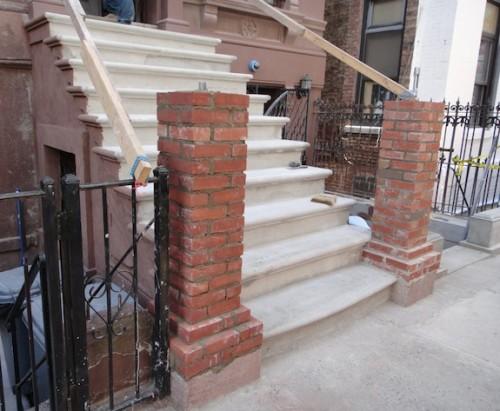 Brick core for masonry newel posts on brownstone stoop
